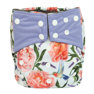 Baby Cloth Diaper Nappy Cover Bamboo Charcoal Reusable Gussets Floral For Girls