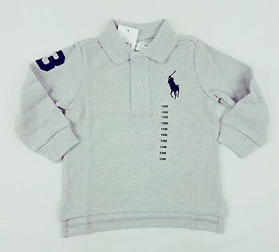 Ralph Lauren Baby Boys' Long Sleeve Cotton Polo Shirt Top szs 9,12,18,24 months