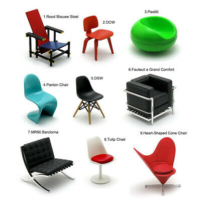 Scaled Miniature Of Dsw Dining Chair Black Retro Modern Designer Mini Chair 1:12 Collectibles
