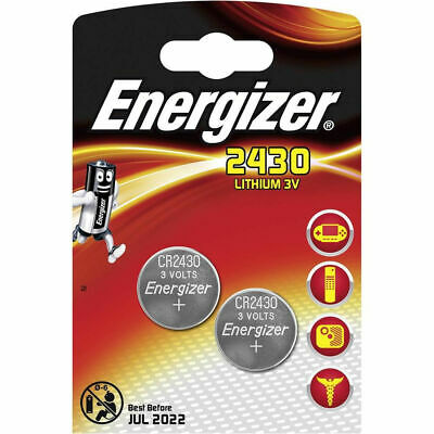 2 x Energizer CR2430 3V Lithium Coin Cell Battery 2450 DL2450