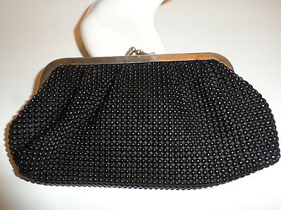 Vintage GoldCrest CLUTCH PURSE black Pearl Mesh with silvertone kiss clasp