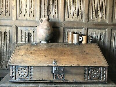 The Largest 17th Century Welsh Oak Desk Box Ever With Initials I W