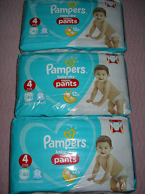 Lot 120 couches-culottes Pampers baby-dry nappy pants taille 4 (9-15kg) neuf