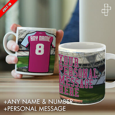 Personalised West Ham United Mug Football Gift Any Name Number & Message London