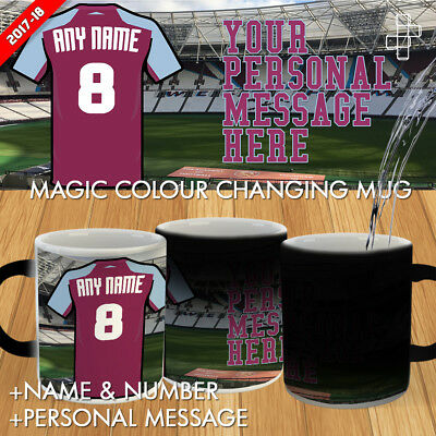 Personalised West Ham United Magic Mug Football London Gift 2017-18 Heat Active