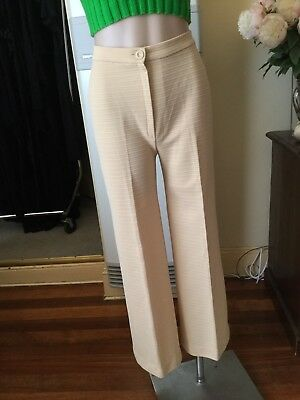 Vintage Beige Crimplene High Waisted Flared Pants Home Made Front Zipper Size 12