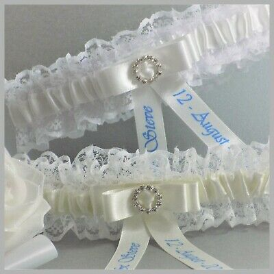 Personalised Bridal Garter. Ivory or White lace & satin with diamante buckle.