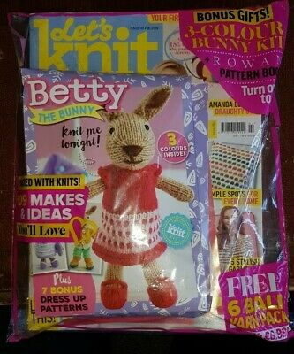 Lets Knit Magazine Issue #141 February 2019 ~ New Sealed With Gift ~ Betty Bunny