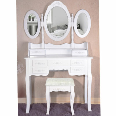Modern Dressing Table with 7 drawers  Stool Mirror Bedroom Makeup Desk Lady
