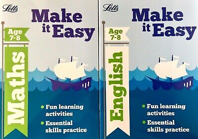 English And Maths KS2 Ages 7-8 Letts Children's Workbooks Set Of 2 Books New