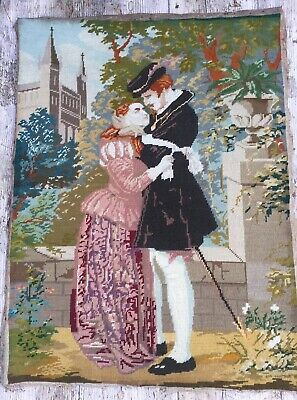 Vtg Completed Tapestry Needlepoint Renaissance Italian Lovers, Secret Romance