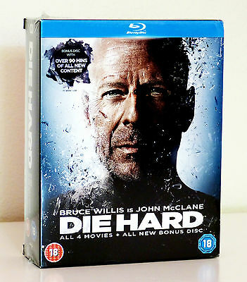 Die Hard Quadrilogy (Includes 4 Movies with Bonus Disc) Blu Ray, New