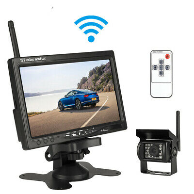 "Wireless IR Night Vision Backup Rear View Camera +7"" HD Monitor for RV Bus Truck"