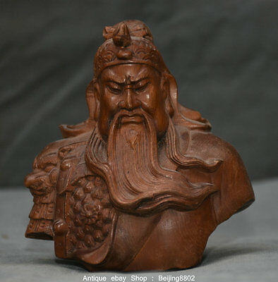 "4"" Rare Old Chinese Boxwood Wood Carved Guan Gong Yu Warrior God Bust Sculpture"