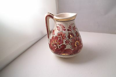 Vintage Delft Rood Holland Art Pottery Small Creamer Pitcher Red Flowers