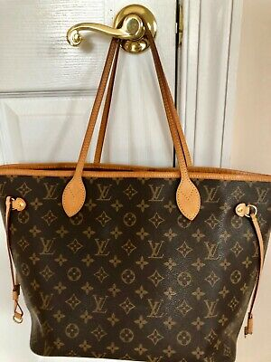 72c4056b9487 AUTH LOUIS VUITTON 2016 Neverfull MM Monogram Canvas w Cherry lining ...