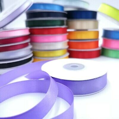 23 Metres Double Sided Satin Ribbon on Full Reels - Widths 6mm 10mm and 15mm