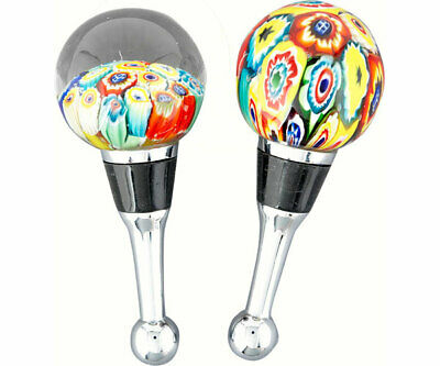 COLLECTIBLE BLOWN GLASS CREATURES BOTTLE STOPPER -Set of 2  Millefiore - BS-086