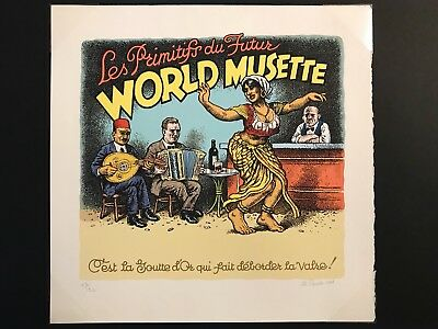 Robert Crumb 2001 'World Musette' Serigraph / Signed by R Crumb