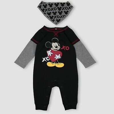 Baby Boys Mickey Mouse & Friends 2 Pc Romper and Bandana Bib Set~Valentines XO