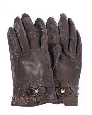RARE Vintage PLAYBOY Brown Leather Gloves Size S