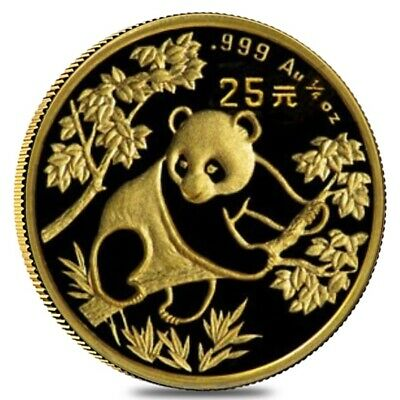 1992 1/4 oz Chinese Gold Panda 25 Yuan Small Date BU (Sealed)