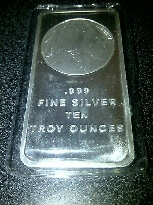 10 Oz Silvertowne Buffalo Design Silver Bar .999 Fine New Sealed in Plastic