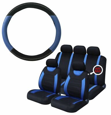 Blue Steering Wheel & Seat Cover set for Vauxhall Corsa Hatchback