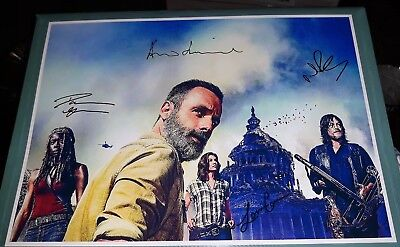 The Walking Dead Poster. Cast Signed. Rick. Daryl. Zombies. Season 9.