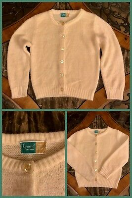 1960s Sweater Cardigan Ivory Orlon Acrylic Buttons Long Sleeve Girls 6, 7, or 8