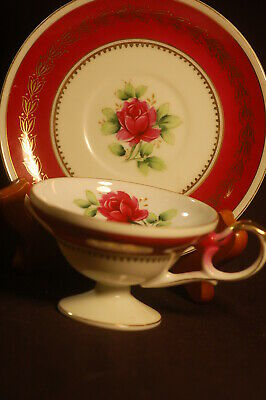 Shafford Red Banded Pedestal Base with Rose Cup and Saucer