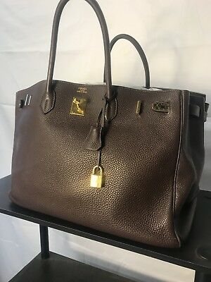 fe98a8d83e3e HERMES Birkin 40 cm Dark Brown Leather Gold Hardware Bag with Lock   Key