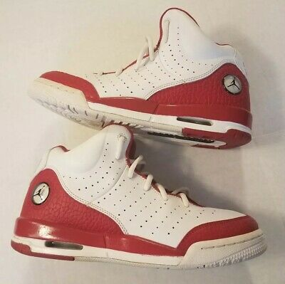 2720cc631 BIG KIDS BOYS SIZE 7Y JORDAN FLIGHT TRADITION SNEAKERS WHITE 819473-106  preowned