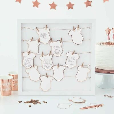 Baby Shower Guest Book Frame with Rose Gold Foiled Tags and Pegs - Ginger Ray