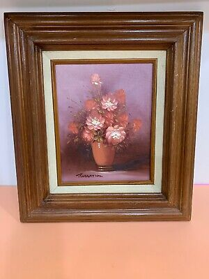 Original oil on board floral Vase painting by Robert Cox