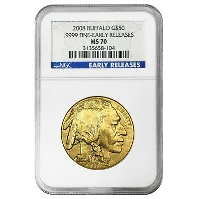 2008 1 oz $50 Gold American Buffalo NGC MS 70 Early Releases