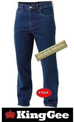 King Gee - Pack Of 4 - Mens Classic Easy-Fit *Stretch Denim* Work Jean - K03390