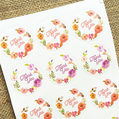 54Pcs Blossom Garland Thank You Stickers Seal the envelope and gift box