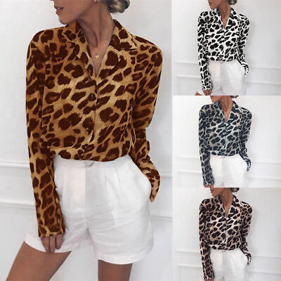 Women Casual Leopard Print Shirt Ladies Loose Blouse Long Sleeve Tops T-Shirt