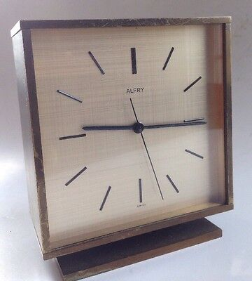 Vintage Alfry Brass Table Clock Mid Century Modern 8500 Picclick