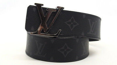 c1af765bf98d Authentic LOUIS VUITTON Monogram Eclipse Initiales 40MM Reversible Belt 80  32