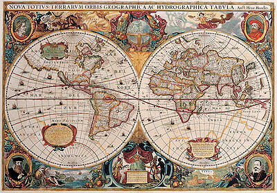 Double Hemisphere Map 1630 A2 High Quality Canvas Art Print
