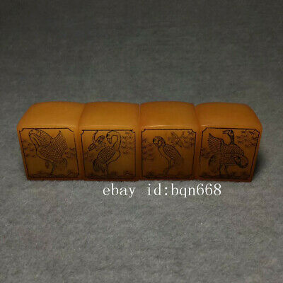 China old Antique Shoushan Stone Pine crane Prolong life seal A Set