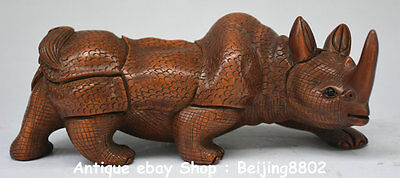 "8"" Rare Old Chinese Boxwood Hand Carved Feng Shui rhinoceros Rhino Sculpture"