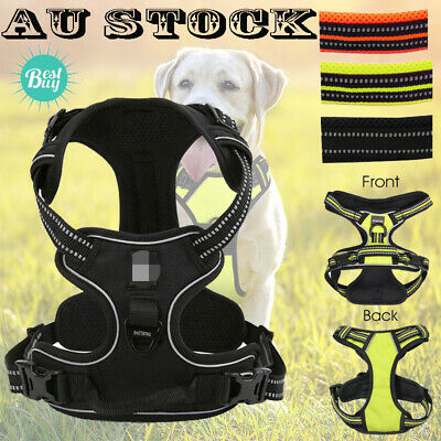 Luxury No Pull Dog Harness 3M Reflective Outdoor Pet Vest Padded Clip Handle AU