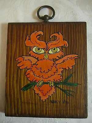 Vintage Original Painting Fantastic Orange Owl – on wood – signed Nancy Vito