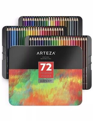 ARTEZA Colored Pencils, Professional Set of 72 Colors, Soft Wax-Based Cores, ...
