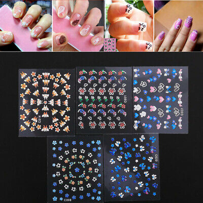 12D0 10Pcs New 3D Nail Art Sticker Transfer Design Manicure Tips Style Decal
