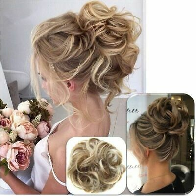 Messy Curly Fake Hair Bun Piece Extensions Hairpiece Hair Clip In Scrunchie