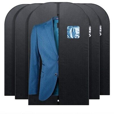 5 Pcs 42-inch Garment Bag for Suit Dress Storage Black with Clear Window